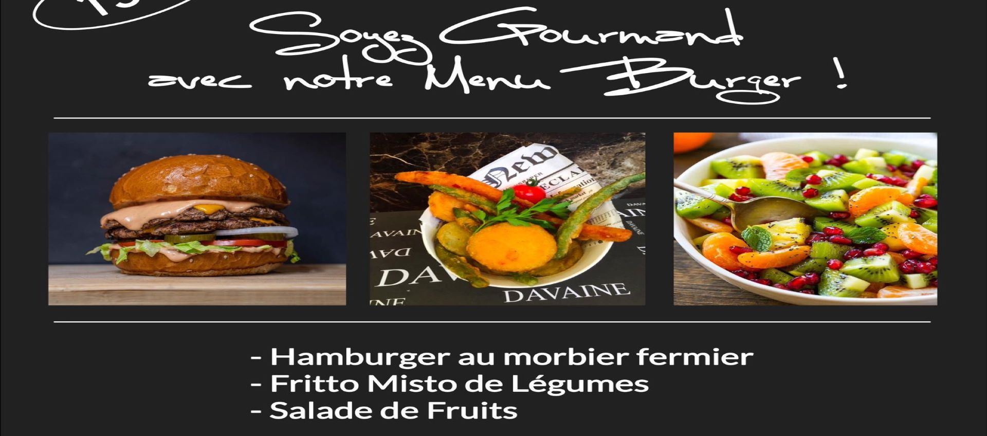 Menu burger à 15€